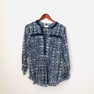 Maeve•Printed Blue Blouse